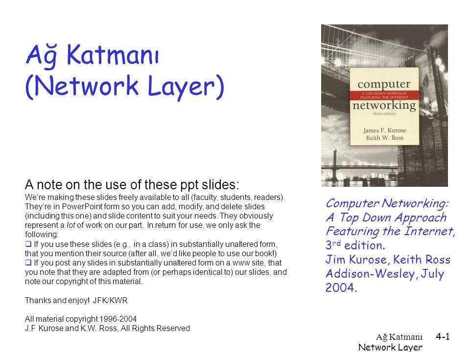 Ağ Katmanı Network Layer 4-1 Ağ Katmanı (Network Layer) Computer Networking: A Top Down Approach Featuring the Internet, 3 rd edition. Jim Kurose, Kei
