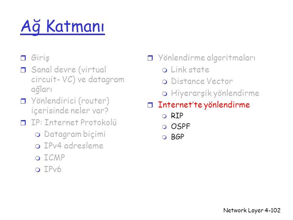 Network Layer4-102 Ağ Katmanı r Giriş r Sanal devre (virtual circuit- VC) ve datagram ağları r Yönlendirici (router) içerisinde neler var? r IP: Inter