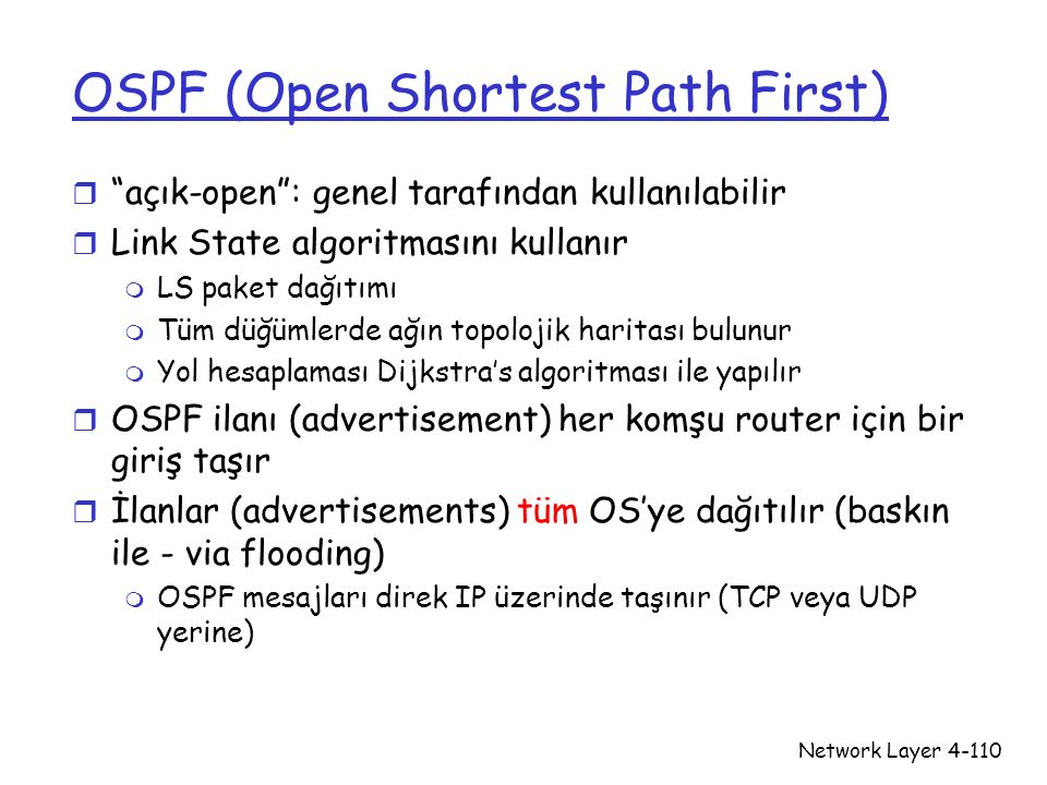 """Network Layer4-110 OSPF (Open Shortest Path First) r """"açık-open"""": genel tarafından kullanılabilir r Link State algoritmasını kullanır m LS paket dağıt"""