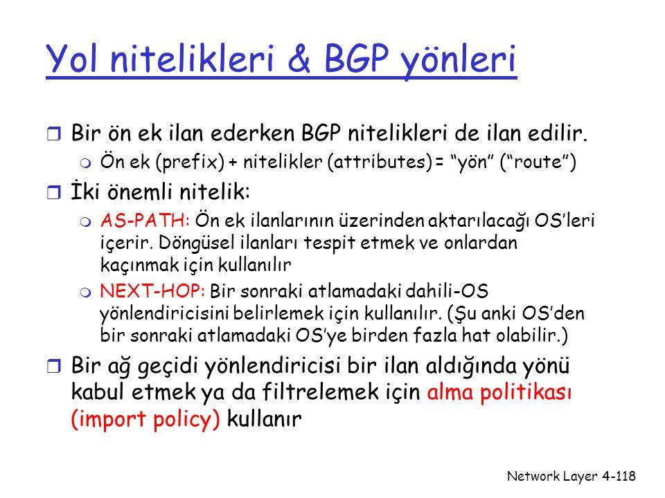 Network Layer4-118 Yol nitelikleri & BGP yönleri r Bir ön ek ilan ederken BGP nitelikleri de ilan edilir. m Ön ek (prefix) + nitelikler (attributes) =