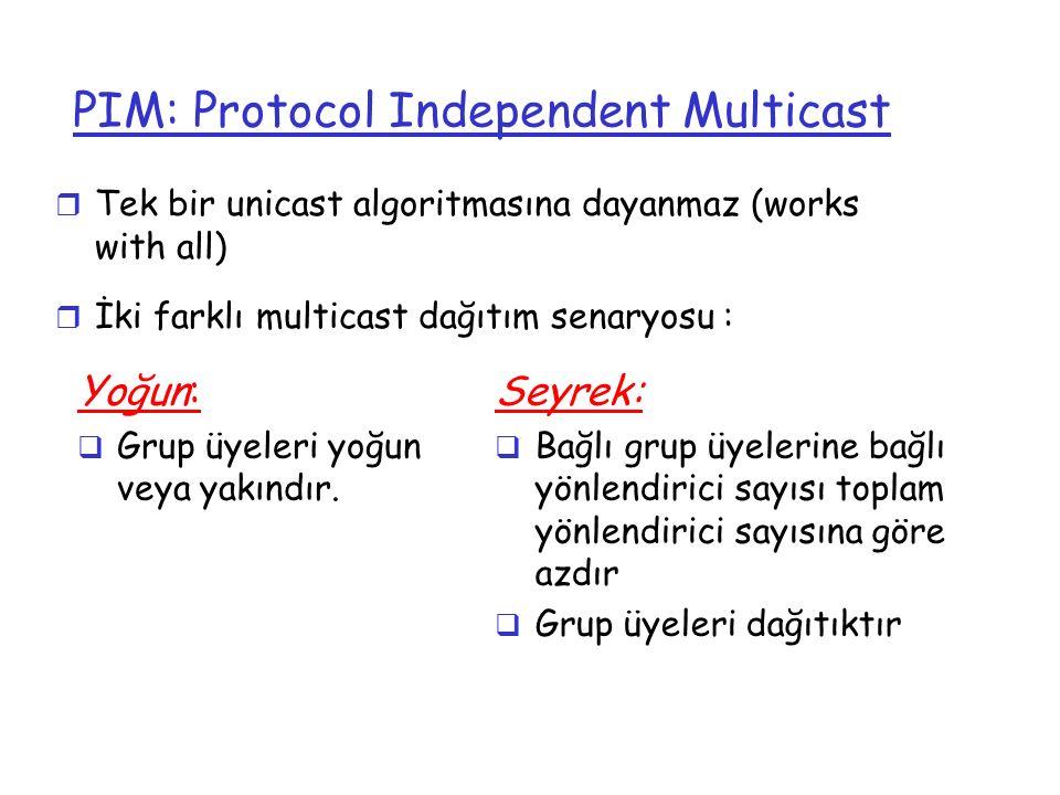 PIM: Protocol Independent Multicast r Tek bir unicast algoritmasına dayanmaz (works with all) r İki farklı multicast dağıtım senaryosu : Yoğun:  Grup
