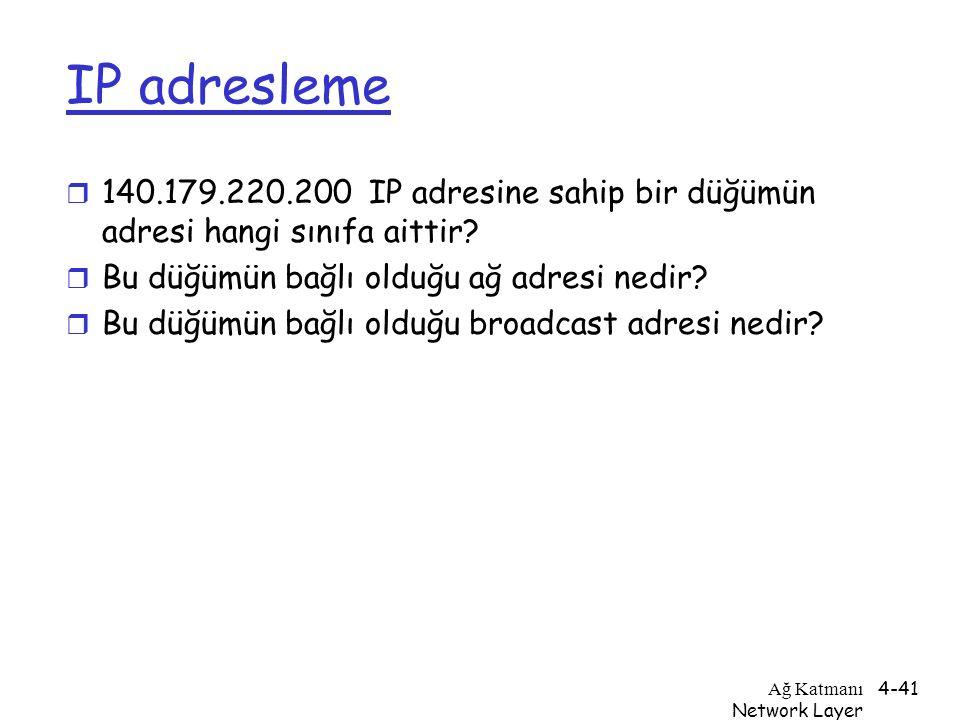 Ağ Katmanı Network Layer 4-41 IP adresleme r 140.179.220.200 IP adresine sahip bir düğümün adresi hangi sınıfa aittir? r Bu düğümün bağlı olduğu ağ ad