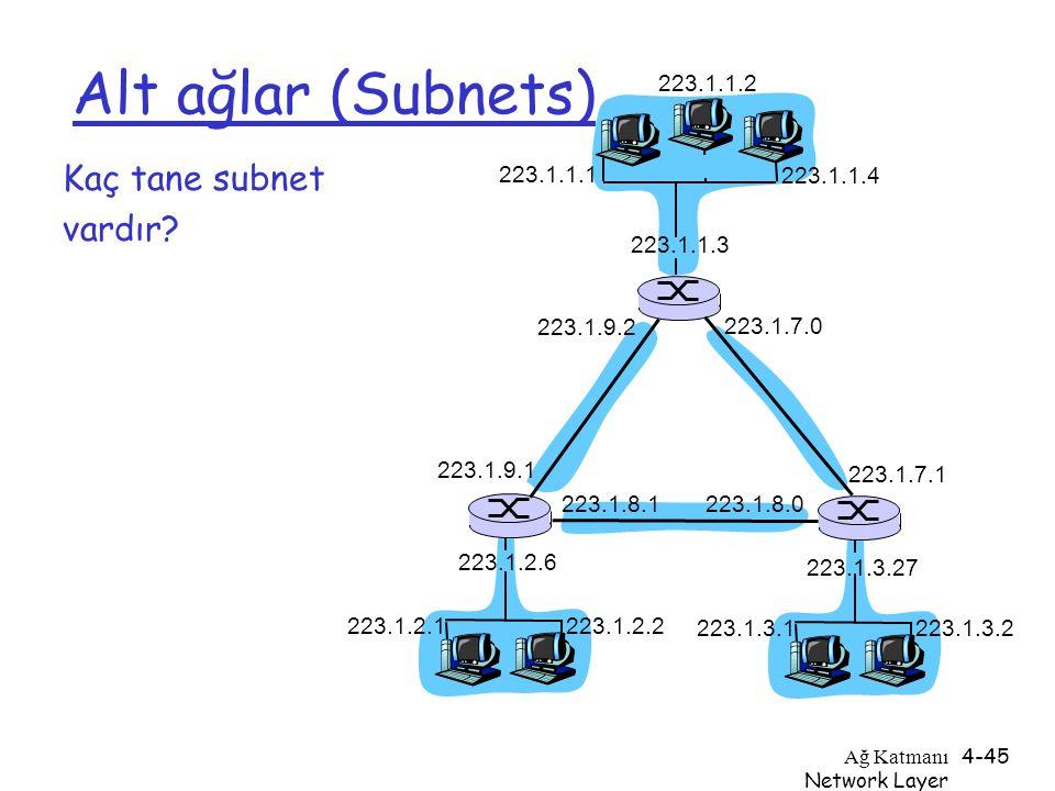 Ağ Katmanı Network Layer 4-45 Alt ağlar (Subnets) Kaç tane subnet vardır? 223.1.1.1 223.1.1.3 223.1.1.4 223.1.2.2 223.1.2.1 223.1.2.6 223.1.3.2 223.1.