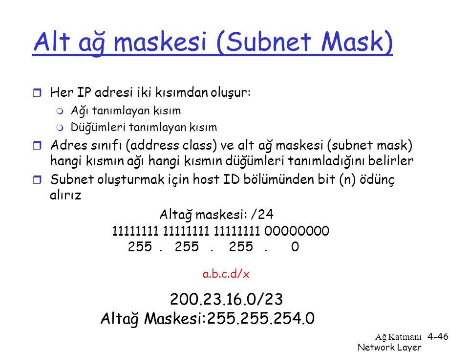Ağ Katmanı Network Layer 4-46 Alt ağ maskesi (Subnet Mask) r Her IP adresi iki kısımdan oluşur: m Ağı tanımlayan kısım m Düğümleri tanımlayan kısım r