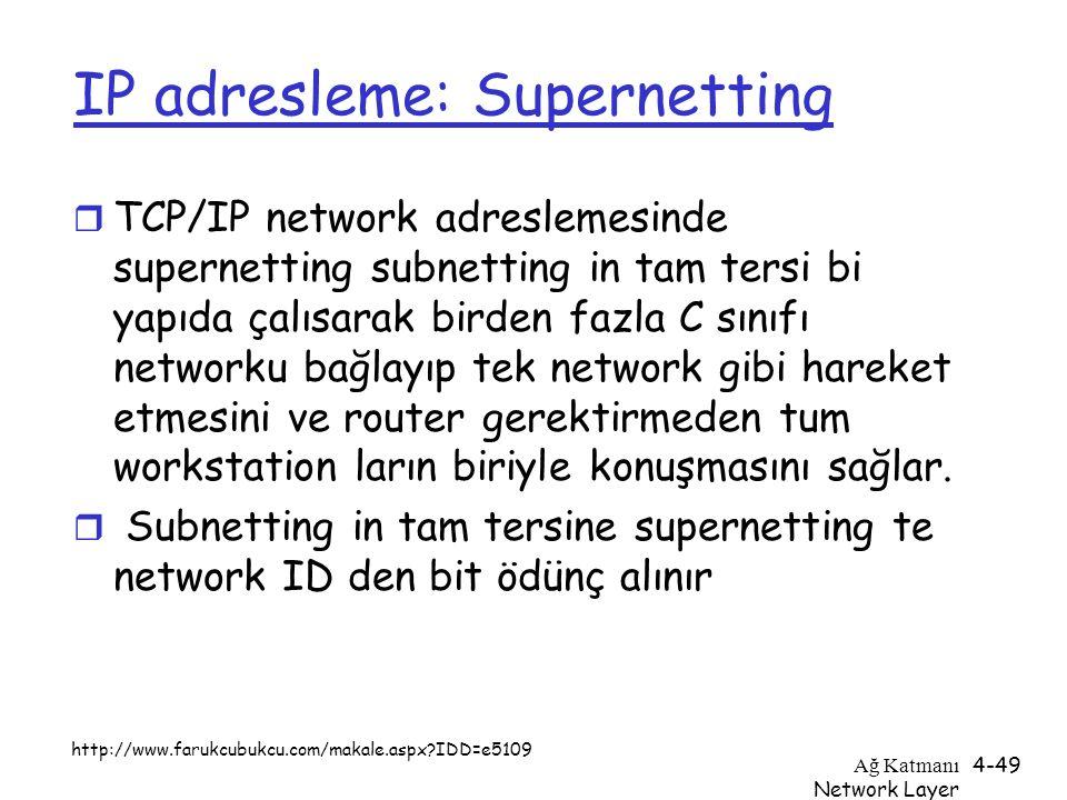 Ağ Katmanı Network Layer 4-49 IP adresleme: Supernetting r TCP/IP network adreslemesinde supernetting subnetting in tam tersi bi yapıda çalısarak bird