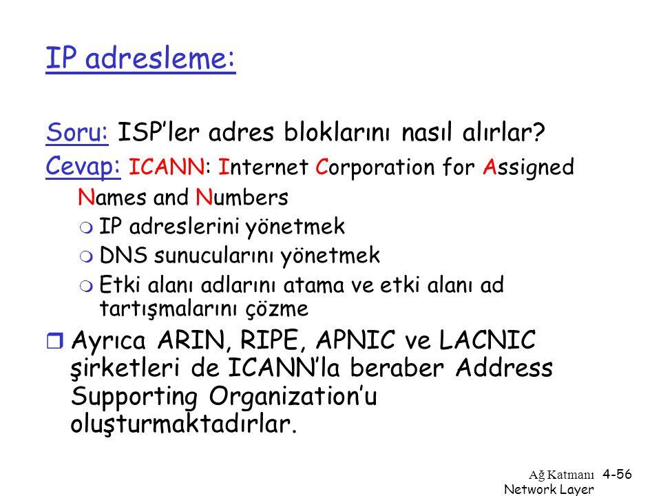 Ağ Katmanı Network Layer 4-56 IP adresleme: Soru: ISP'ler adres bloklarını nasıl alırlar? Cevap: ICANN: Internet Corporation for Assigned Names and Nu