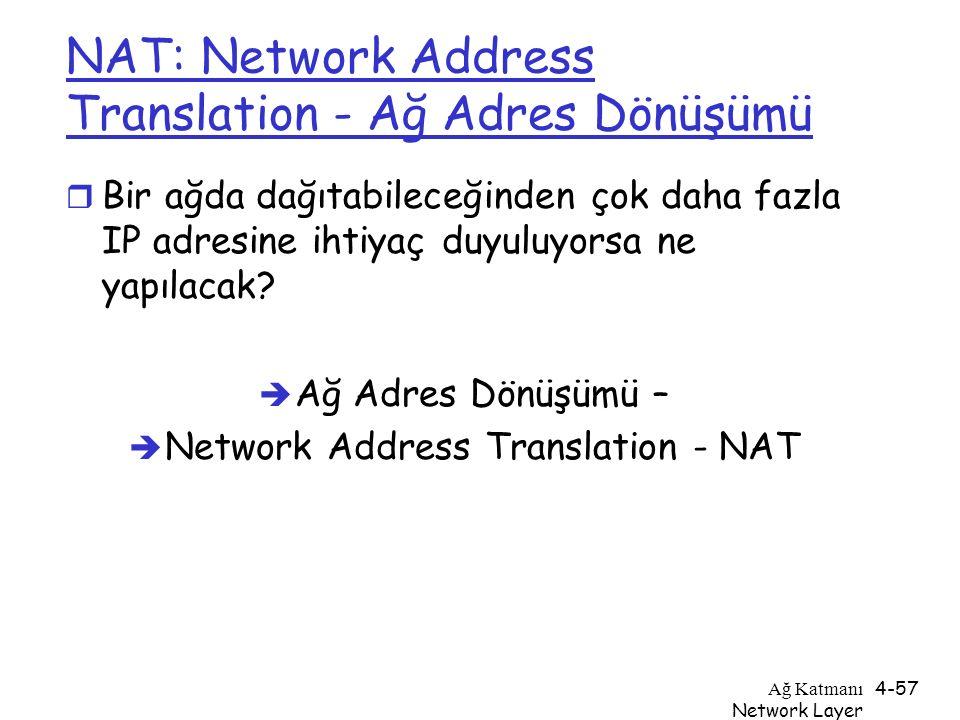 Ağ Katmanı Network Layer 4-57 NAT: Network Address Translation - Ağ Adres Dönüşümü r Bir ağda dağıtabileceğinden çok daha fazla IP adresine ihtiyaç du