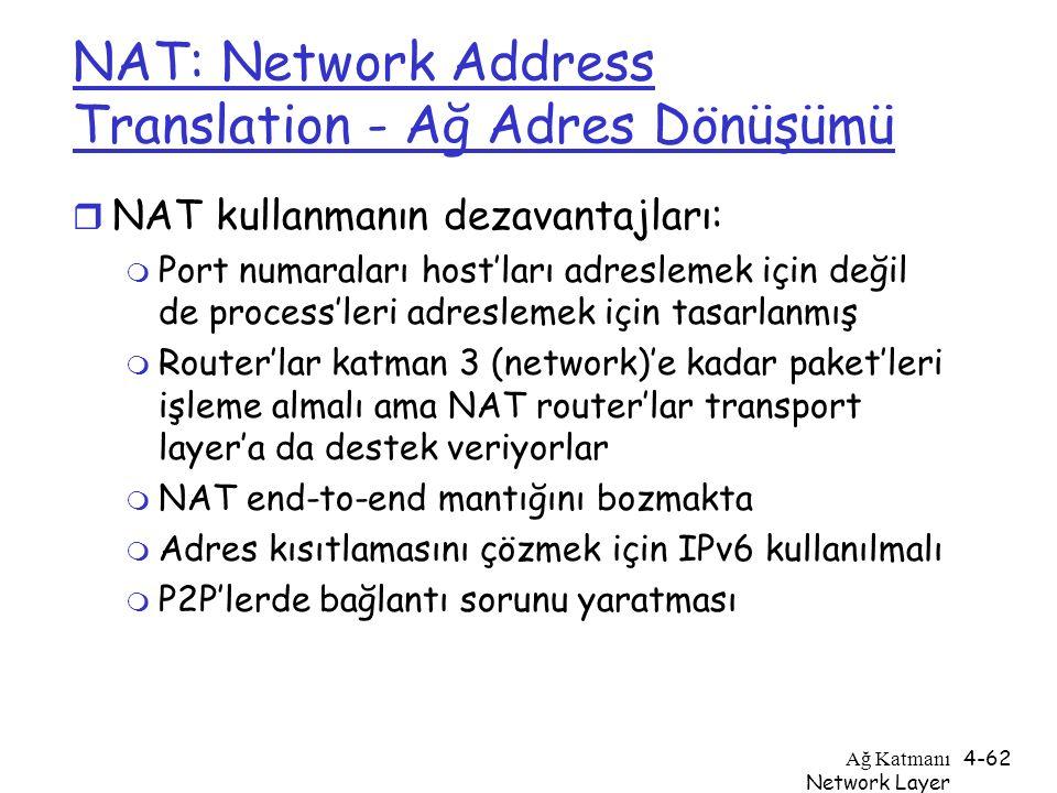Ağ Katmanı Network Layer 4-62 NAT: Network Address Translation - Ağ Adres Dönüşümü r NAT kullanmanın dezavantajları: m Port numaraları host'ları adres