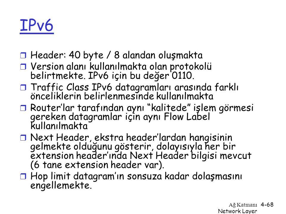 Ağ Katmanı Network Layer 4-68 IPv6 r Header: 40 byte / 8 alandan oluşmakta r Version alanı kullanılmakta olan protokolü belirtmekte. IPv6 için bu değe