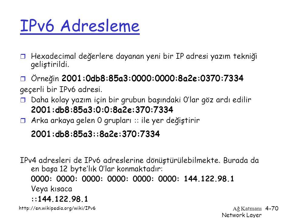 Ağ Katmanı Network Layer 4-70 IPv6 Adresleme r Hexadecimal değerlere dayanan yeni bir IP adresi yazım tekniği geliştirildi. r Örneğin 2001:0db8:85a3:0