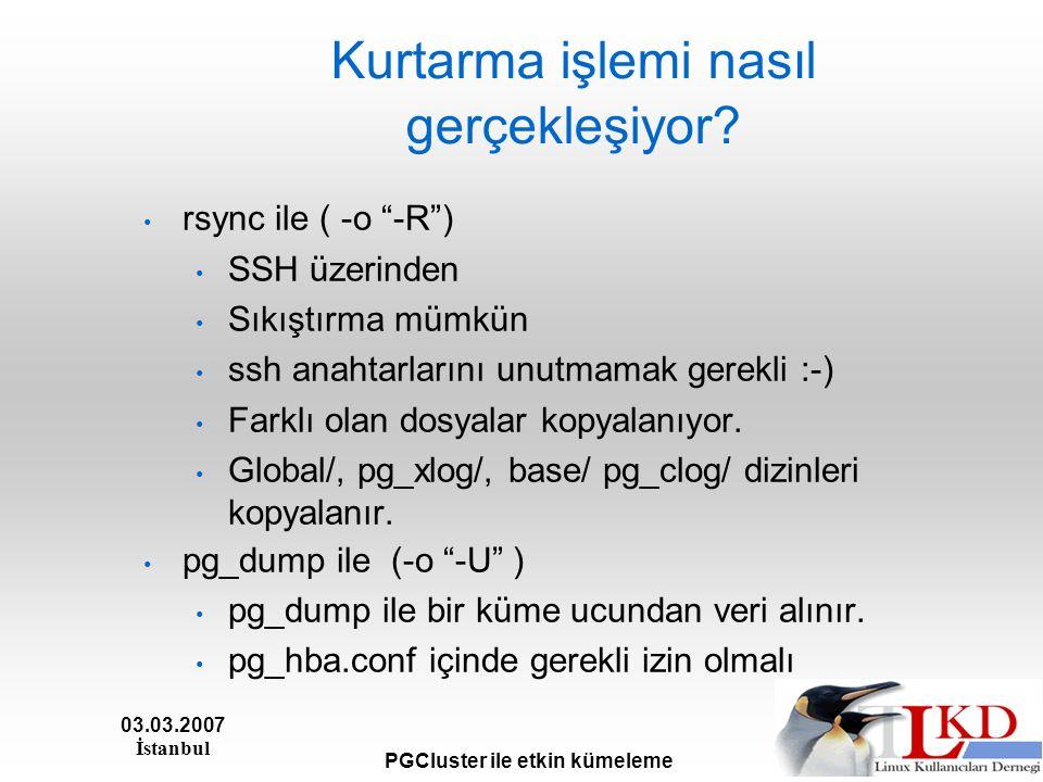 03.03.2007 İstanbul PGCluster ile etkin kümeleme Kurtarma işlemi nasıl gerçekleşiyor.