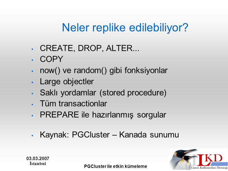 03.03.2007 İstanbul PGCluster ile etkin kümeleme Neler replike edilebiliyor.