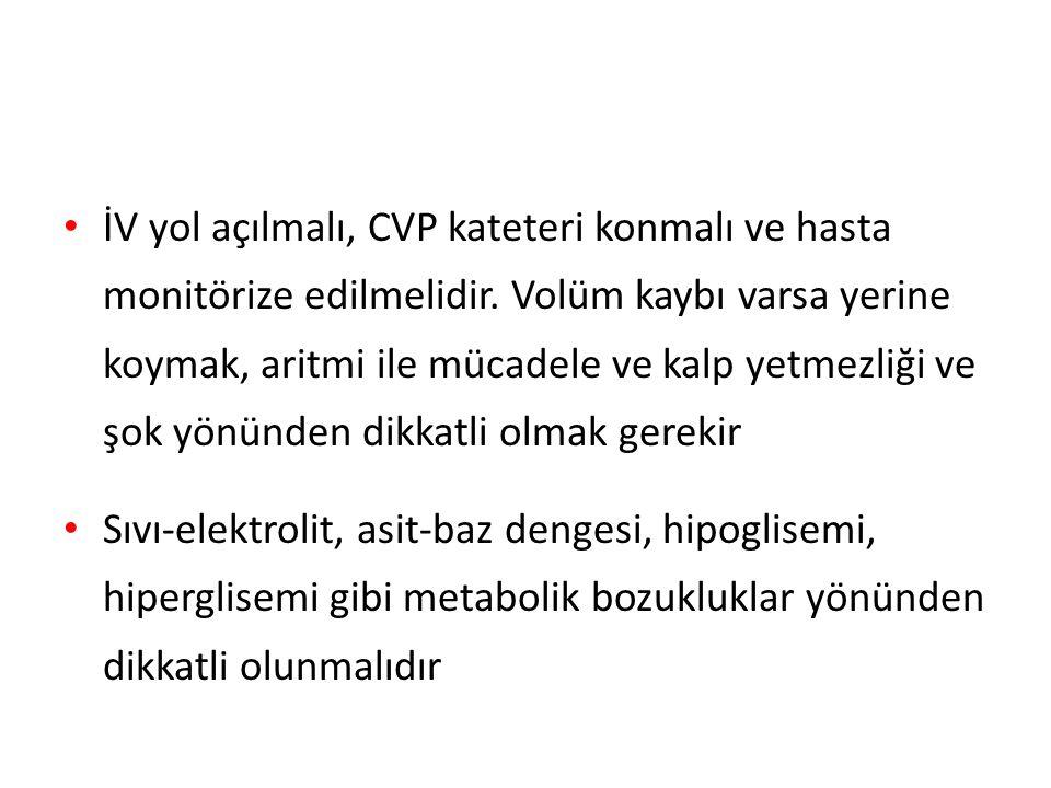 İV yol açılmalı, CVP kateteri konmalı ve hasta monitörize edilmelidir.