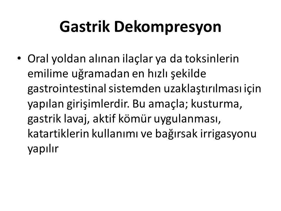 Gastrik Dekompresyon Oral yoldan alınan ilaçlar ya da toksinlerin emilime uğramadan en hızlı şekilde gastrointestinal sistemden uzaklaştırılması için yapılan girişimlerdir.