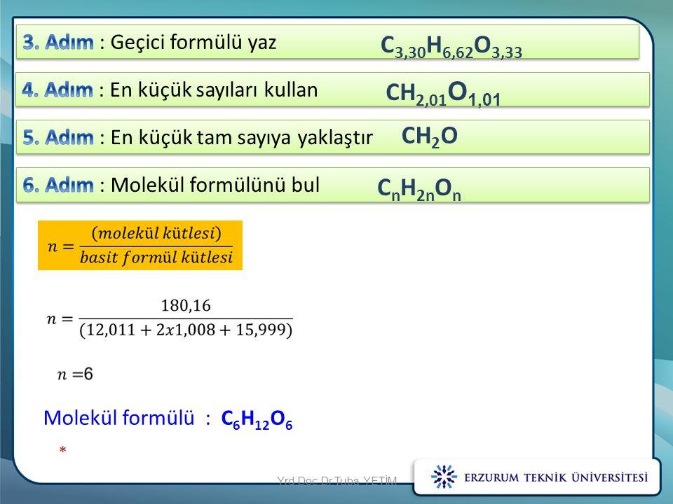 C 3,30 H 6,62 O 3,33 CH 2,01 O 1,01 CH 2 O Molekül formülü : C 6 H 12 O 6 C n H 2n O n Yrd.Doç.Dr.Tuba YETİM