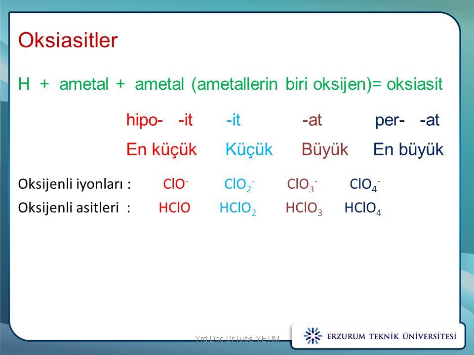 Oksiasitler H + ametal + ametal (ametallerin biri oksijen)= oksiasit hipo- -it -it -at per- -at En küçük Küçük Büyük En büyük Oksijenli iyonları : ClO