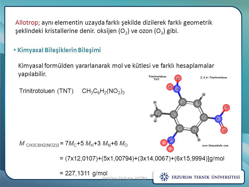 Allotrop; aynı elementin uzayda farklı şekilde dizilerek farklı geometrik şeklindeki kristallerine denir. oksijen (O 2 ) ve ozon (O 3 ) gibi. Kimyasal