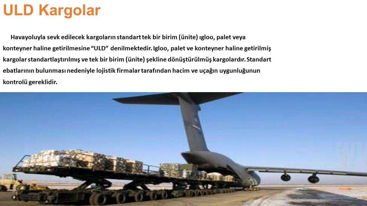 """ULD Kargolar Havayoluyla sevk edilecek kargoların standart tek bir birim (ünite) ıgloo, palet veya konteyner haline getirilmesine """"ULD"""" denilmektedir."""