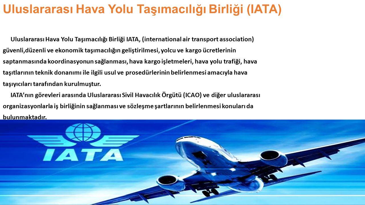 Uluslararası Sivil Havacılık Örgütü (ICAO) 1967'de kurulan Uluslararası Sivil Havacılık Örgütü'nün (International Civil Aviation Organisation - ICAO) başlıca görevleri şunlardır; --Uluslararası sivil havacılığın güvenli ve düzenli bir şekilde büyümesini sağlamak, -- Barışçıl amaçlara yönelik uçak tasarımı ve işletmesini teşvik etmek, -- Sivil havacılık için hava yolları, havaalanları ve hava seyir tesislerinin gelişimini desteklemek, --Uluslararası kamuoyunun güvenli, düzenli, verimli ve ekonomik hava taşımacılığı ihtiyaçlarını karşılamaktır.