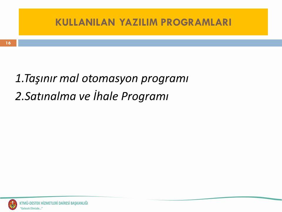 16 1.Taşınır mal otomasyon programı 2.Satınalma ve İhale Programı KULLANILAN YAZILIM PROGRAMLARI