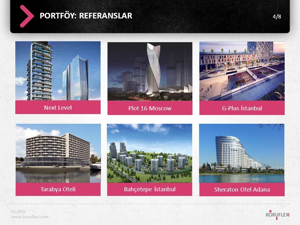 Next Level PORTFÖY: REFERANSLAR 4/8 01.2016 www.koruflex.com Plot 16 MoscowG-Plus İstanbul Tarabya OteliBahçetepe İstanbul Sheraton Otel Adana