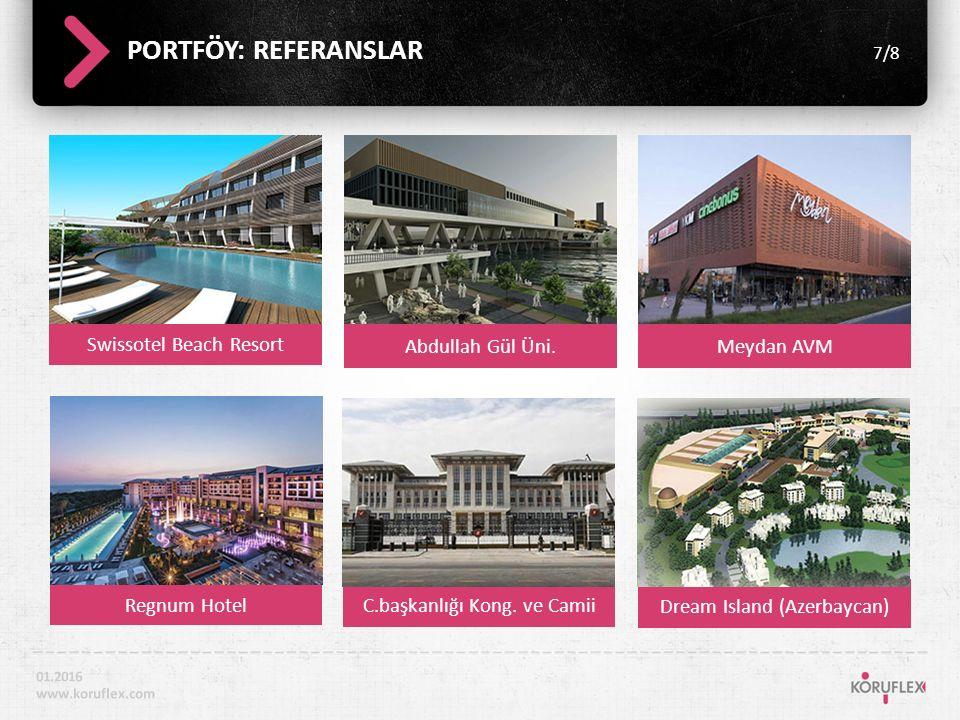 Swissotel Beach Resort PORTFÖY: REFERANSLAR 7/8 01.2016 www.koruflex.com Abdullah Gül Üni.Meydan AVM Regnum Hotel C.başkanlığı Kong.
