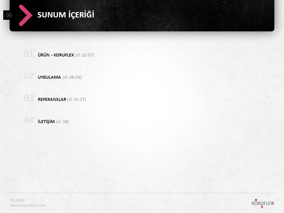 01' ÜRÜN - KORUFLEX (sf. 02-07) 02' UYGULAMA (sf.