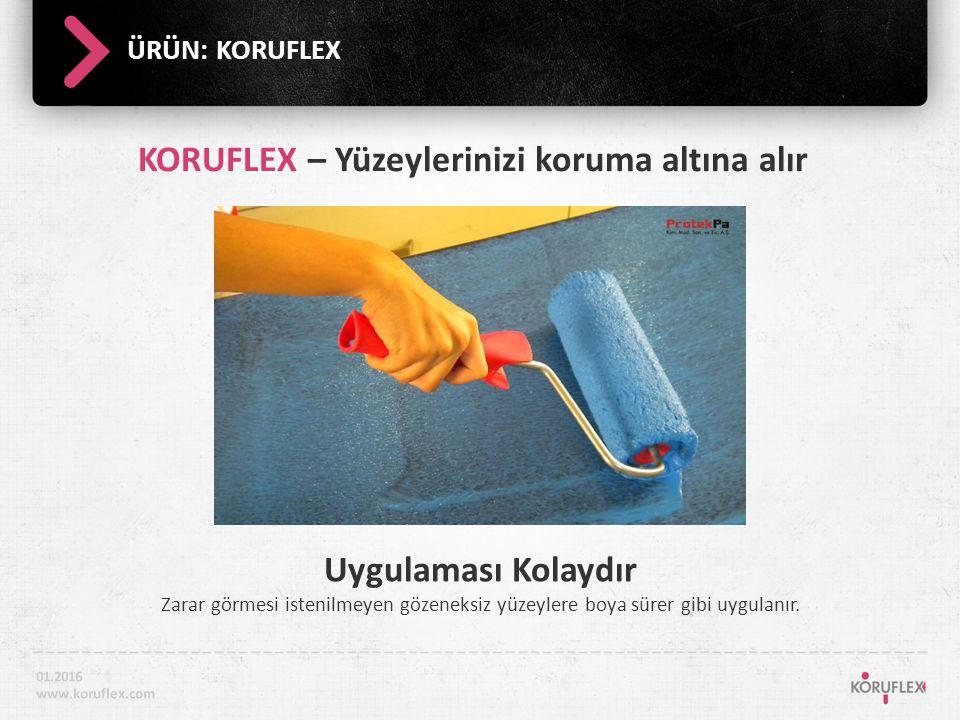 ÜRÜN: KORUFLEX Uygulaması Kolaydır Zarar görmesi istenilmeyen gözeneksiz yüzeylere boya sürer gibi uygulanır.