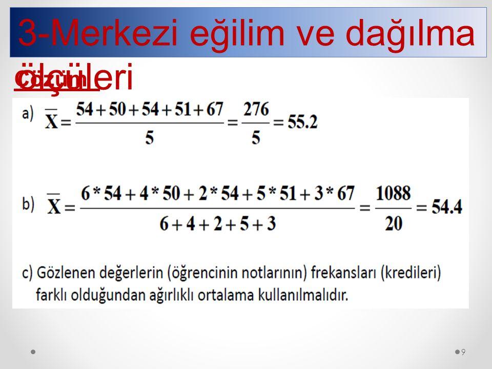 3-Merkezi eğilim ve dağılma ölçüleri Çözüm : 9