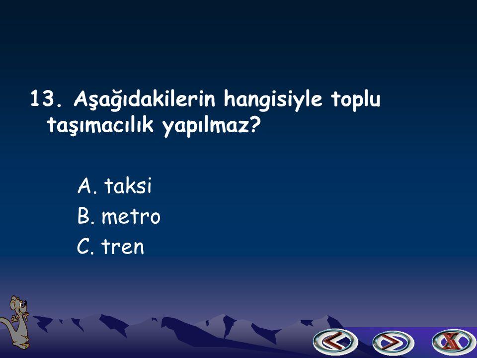 12. Deniz taşıtlarının yük ve yolcu aldıkları yere ne denir A. istasyon B. liman C. otogar