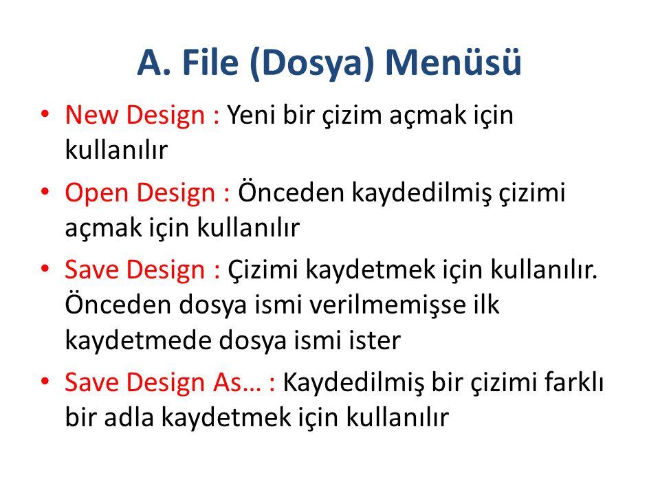 A. File (Dosya) Menüsü New Design : Yeni bir çizim açmak için kullanılır Open Design : Önceden kaydedilmiş çizimi açmak için kullanılır Save Design :