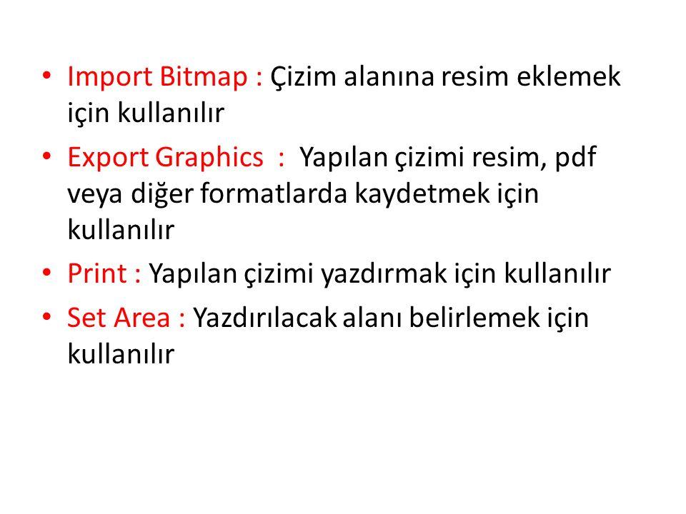 Import Bitmap : Çizim alanına resim eklemek için kullanılır Export Graphics : Yapılan çizimi resim, pdf veya diğer formatlarda kaydetmek için kullanıl