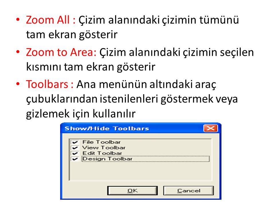 Zoom All : Çizim alanındaki çizimin tümünü tam ekran gösterir Zoom to Area: Çizim alanındaki çizimin seçilen kısmını tam ekran gösterir Toolbars : Ana