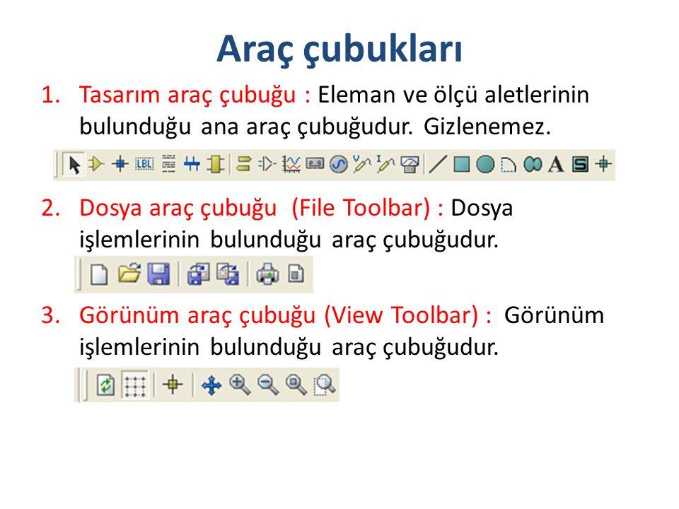 Araç çubukları 1.Tasarım araç çubuğu : Eleman ve ölçü aletlerinin bulunduğu ana araç çubuğudur. Gizlenemez. 2.Dosya araç çubuğu (File Toolbar) : Dosya
