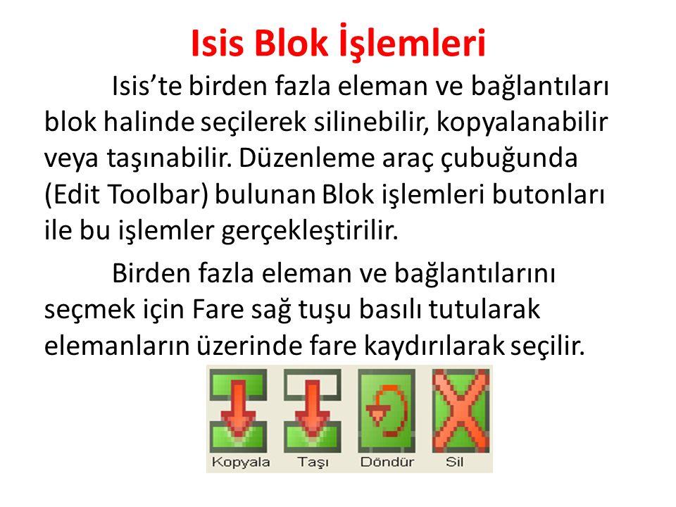 Isis Blok İşlemleri Isis'te birden fazla eleman ve bağlantıları blok halinde seçilerek silinebilir, kopyalanabilir veya taşınabilir. Düzenleme araç çu