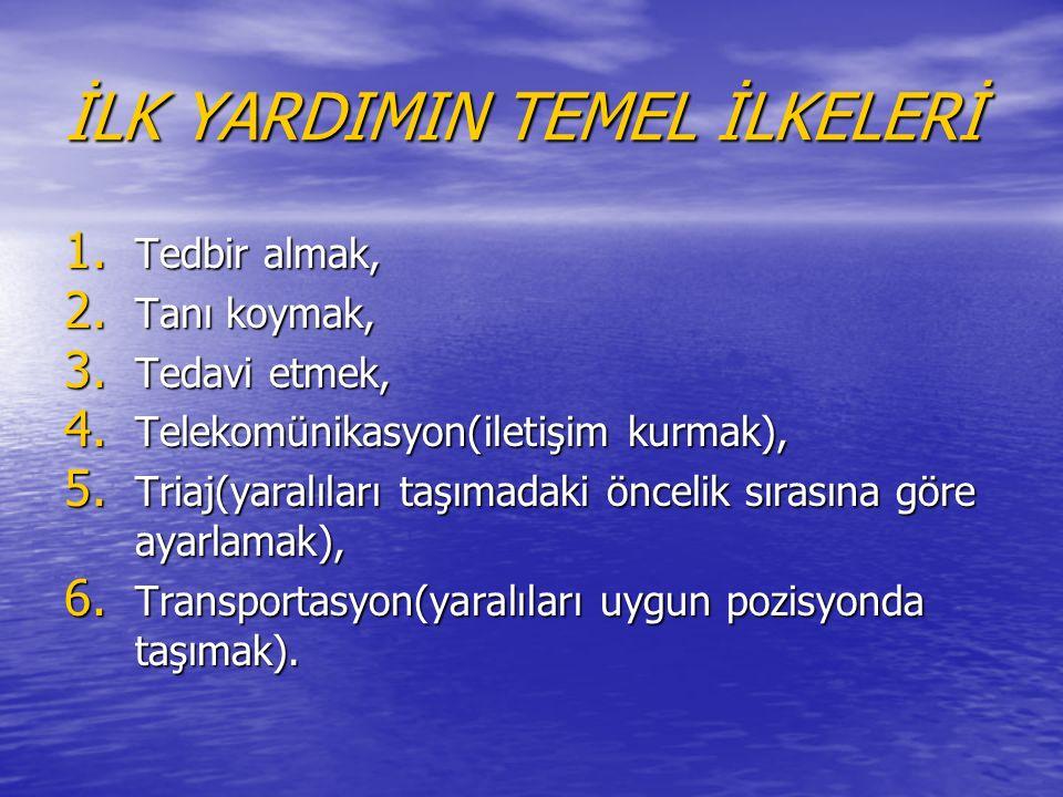 İLK YARDIMIN TEMEL İLKELERİ 1. Tedbir almak, 2. Tanı koymak, 3.