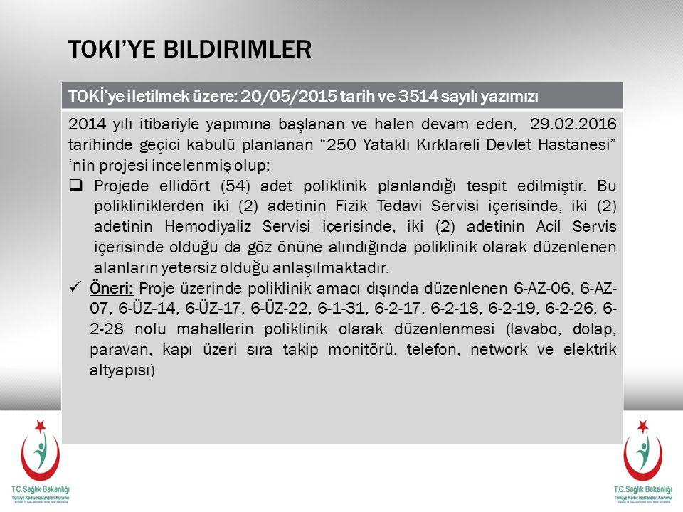 TOKI'YE BILDIRIMLER TOKİ'ye iletilmek üzere: 20/05/2015 tarih ve 3514 sayılı yazımızı 2014 yılı itibariyle yapımına başlanan ve halen devam eden, 29.02.2016 tarihinde geçici kabulü planlanan 250 Yataklı Kırklareli Devlet Hastanesi 'nin projesi incelenmiş olup;  Projede ellidört (54) adet poliklinik planlandığı tespit edilmiştir.