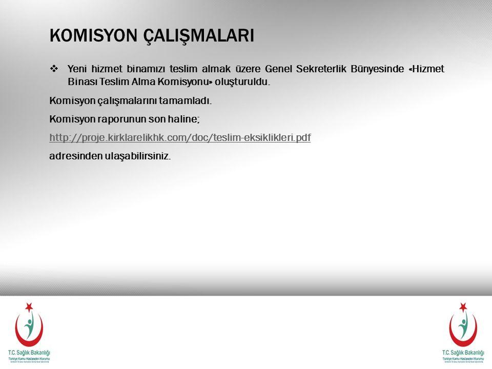 KOMISYON ÇALIŞMALARI  Yeni hizmet binamızı teslim almak üzere Genel Sekreterlik Bünyesinde «Hizmet Binası Teslim Alma Komisyonu» oluşturuldu.
