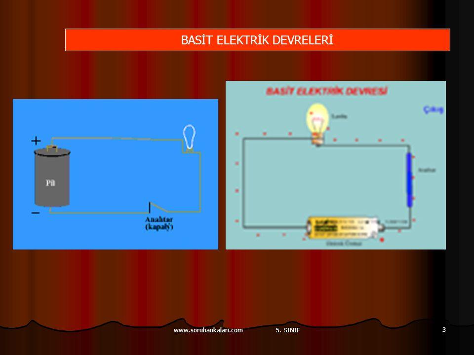 www.sorubankalari.com 5. SINIF 3 BASİT ELEKTRİK DEVRELERİ