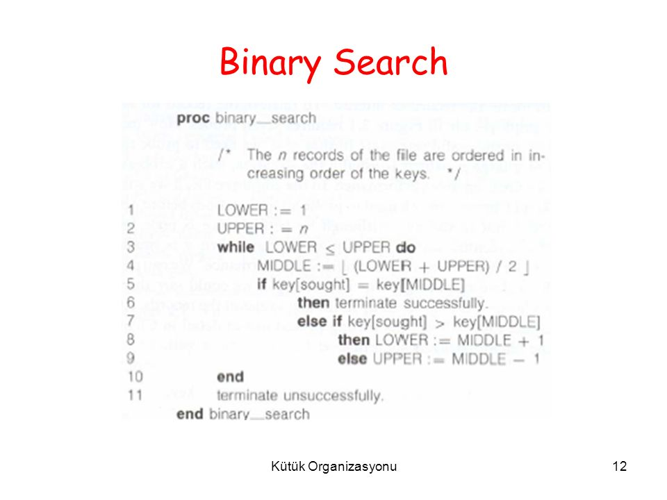 Kütük Organizasyonu12 Binary Search