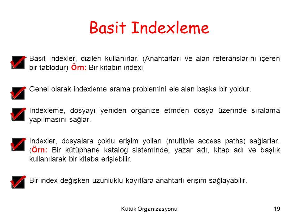 Kütük Organizasyonu19 Basit Indexleme Basit Indexler, dizileri kullanırlar.