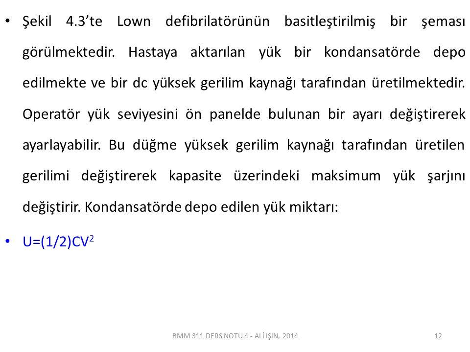 BMM 311 DERS NOTU 4 - ALİ IŞIN, 2014 Şekil 4.3'te Lown defibrilatörünün basitleştirilmiş bir şeması görülmektedir. Hastaya aktarılan yük bir kondansat