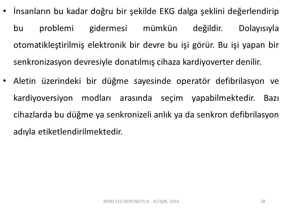 BMM 311 DERS NOTU 4 - ALİ IŞIN, 2014 İnsanların bu kadar doğru bir şekilde EKG dalga şeklini değerlendirip bu problemi gidermesi mümkün değildir.