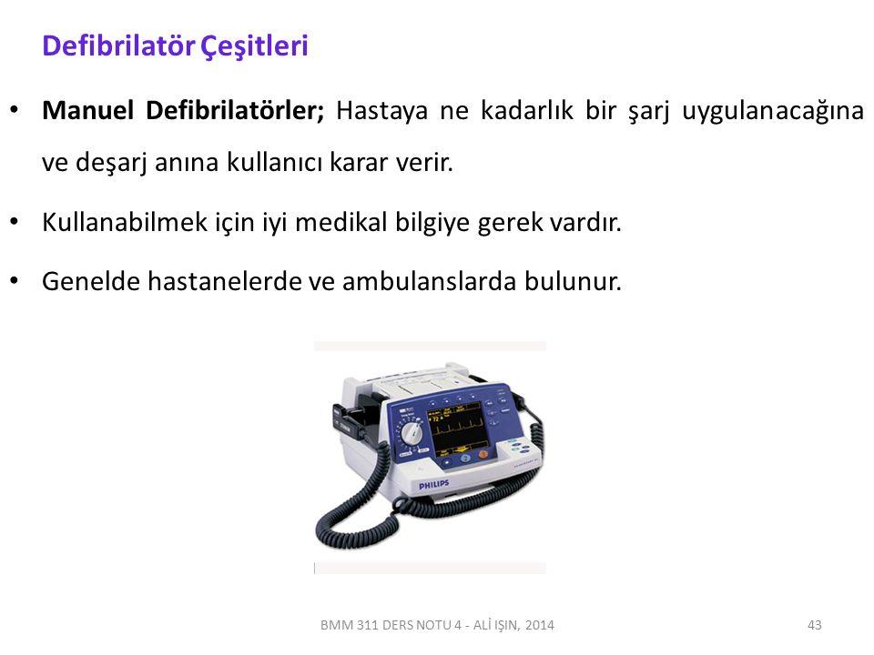 BMM 311 DERS NOTU 4 - ALİ IŞIN, 2014 Defibrilatör Çeşitleri Manuel Defibrilatörler; Hastaya ne kadarlık bir şarj uygulanacağına ve deşarj anına kullan