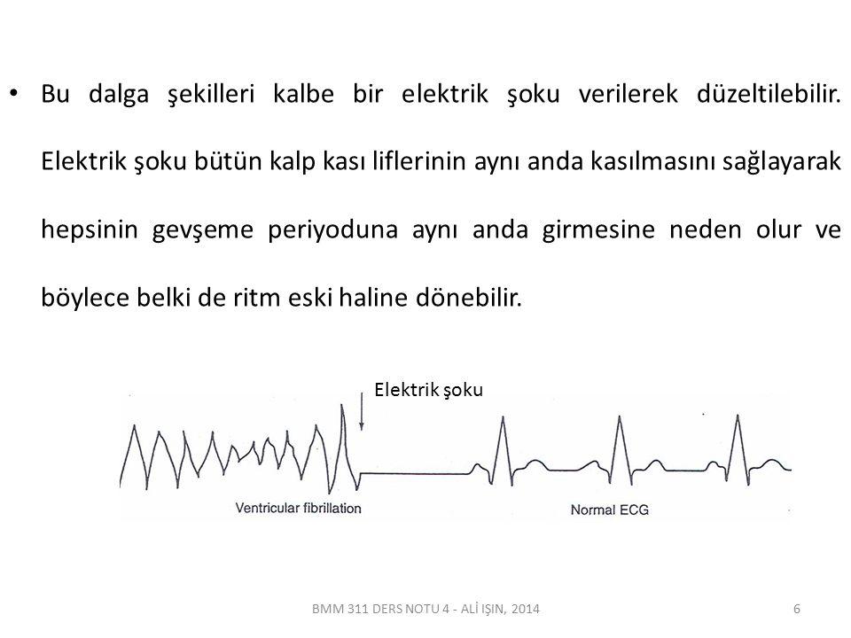 BMM 311 DERS NOTU 4 - ALİ IŞIN, 2014 Bu dalga şekilleri kalbe bir elektrik şoku verilerek düzeltilebilir. Elektrik şoku bütün kalp kası liflerinin ayn