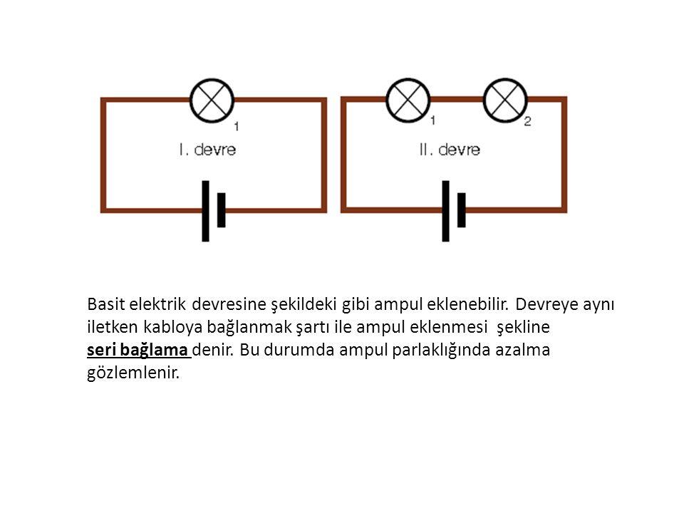 Basit elektrik devresine seri bağlı ampul eklenmesi devredeki toplam direnci artırır.