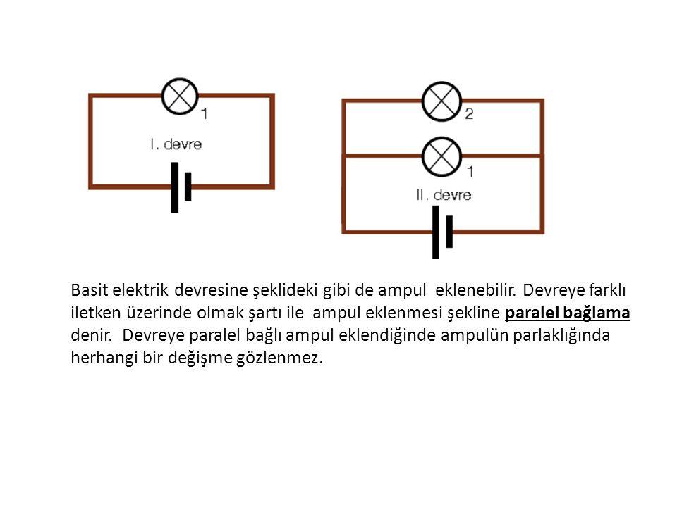 Basit elektrik devresine paralel bağlı ampul eklenmesi devredeki toplam direncin azalmasına neden olur.