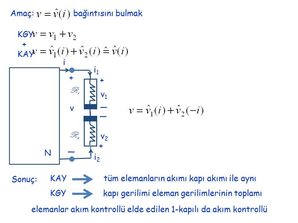 Amaç: bağıntısını bulmak KGY + KAY N i + _ v + + _ _ v1v1 v2v2 i1i1 i2i2 R1R1 R2R2 Sonuç: KAY tüm elemanların akımı kapı akımı ile aynı KGY kapı geril