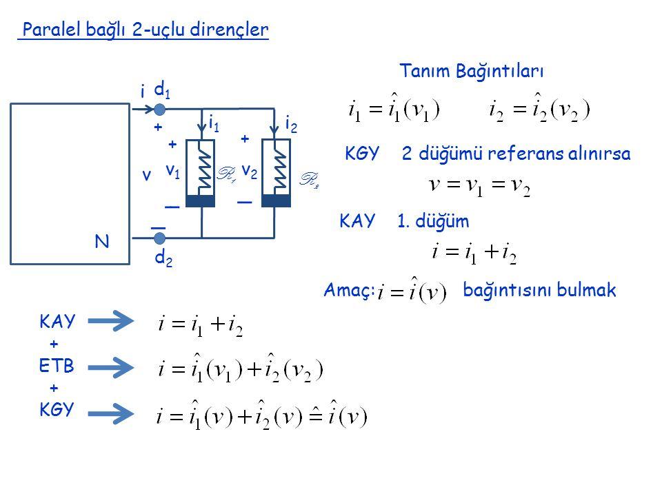 Paralel bağlı 2-uçlu dirençler N i + _ v + + _ _ v1v1 v2v2 i1i1 i2i2 R1R1 R2R2 d1d1 d2d2 Tanım Bağıntıları KGY 2 düğümü referans alınırsa KAY 1. düğüm