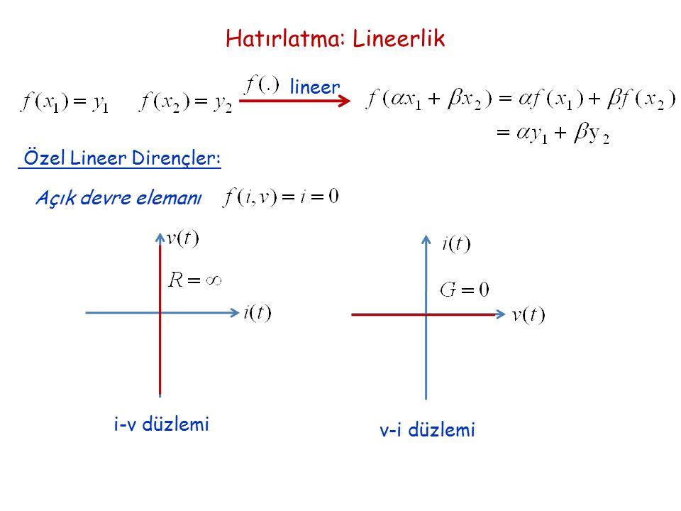 Hatırlatma: Lineerlik lineer Özel Lineer Dirençler: Açık devre elemanı i-v düzlemi v-i düzlemi